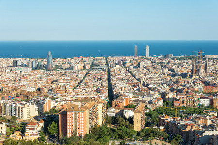 View from the Parc del Guinardo to Barcelona and the mediterranean sea