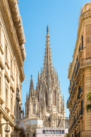 Steeple of the Cathedral of the Holy Cross and Saint Eulalia. La Catedral de la Creu Santa Eulalia