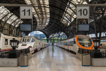 Trains at the Estacio de Franca platform in Barcelona. The Estación de Francia is a major railway station and the second busiest railway station of the city after Barcelona-Sants in terms of regional and long-distance ridership Editorial