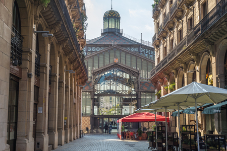 View to Mercat del Born in the Barcelona district La Ribera. The Mercado is a former public market and one of the famous buildings, constructed with iron, in Barcelona Editorial