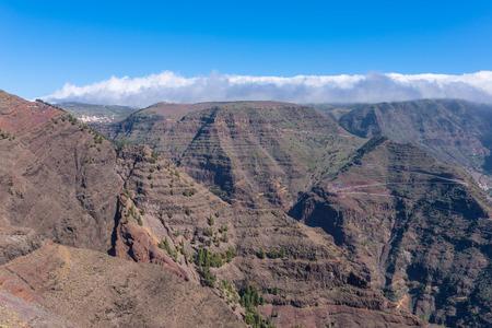 La Gomera. Trail over the Barranco de Arure. The Barranco de Arure is a side valley from the Valle Gran Rey. Stock Photo