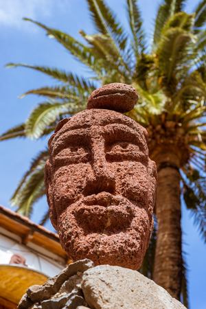 Stone face sculpture in El Guro, La Gomera