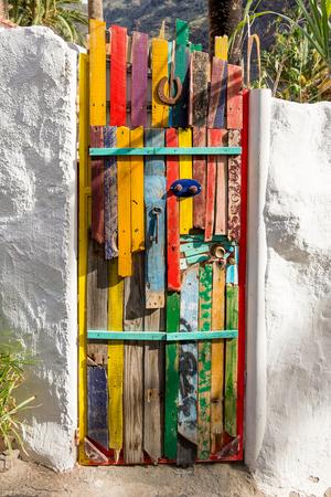 Colorful painted door in the small village of El Guro on La Gomera