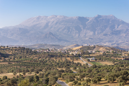 Panoramic landscape from south-central Crete. In the background the huge IDA Mountains with the Psiloritis