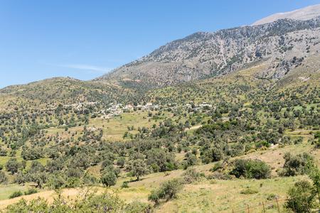 The village Kouroutes at the foot of the Ida mountain range on Crete