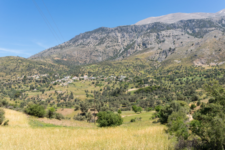 The village Kouroutes at the foot of the Ida mountain range on Crete