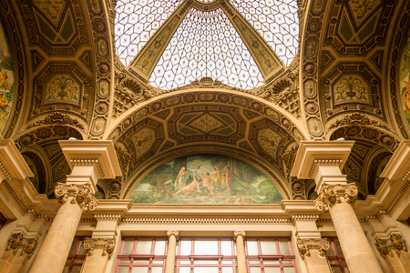 View to the fantastic roof with the stained-glass dome in the main post office, Edifici central de Correus i Telegrafs, in Barcelona