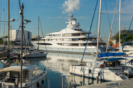 Luxury yachts are mooring at the marina Port Vell in Barcelona. The city is an important destination