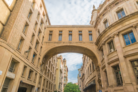 Skybridge from the post office to the opposite building. The main post office in the Ciutat Vella Barcelona
