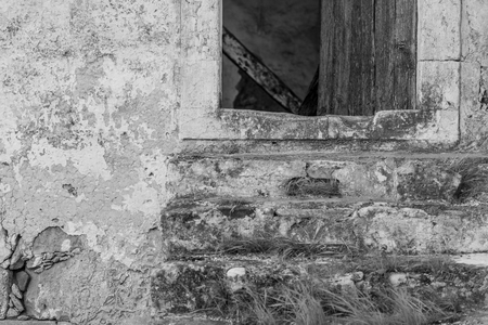 Old abandoned house in the Sivas village in the south-central of Crete Stock Photo