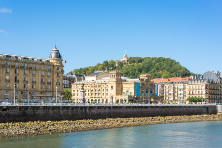View over the river Urumea to the Victoria Eugenia Theater, a neoplateresque building, a special Spanish architecture, located in Donostia San Sebastian