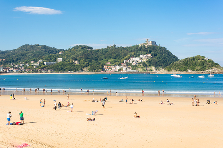 View to the Monte Igueldo and the La Concha Bay, one of the most famous urban beaches in Europe in Donostia San Sebastian