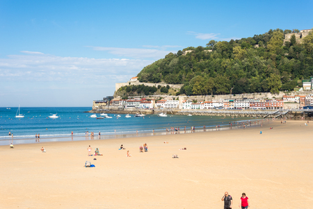 Donostia San Sebastian. The beach of La Concha, a sand beach with shallow waters and tide. It is one of the most famous urban beaches in Europe