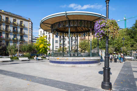 Bandstand at the public square Plaza Easo. The picturesque pavilion, Spanish, Kiosko of the Plaza of the Easo, is located in inner city and close to the Amara train station in Donostia San Sebastian