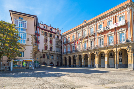 The Plaza del Solar and the Town Hall of Portugalete, a small town in the north of Spain, in the Basque country