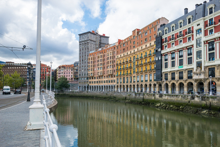 House facades in Bilbao along the Nervion river that runs through the city into the Cantabrian Sea. The apartment blocks are located in the district of San Frantzisko and Bilbao la Vieja