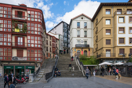 Stairs at the Miguel Unamuno Plaza in Bilbao on October 06, 2016. The square is located in the old town and named after the writer and philosopher Miguel Unamuno