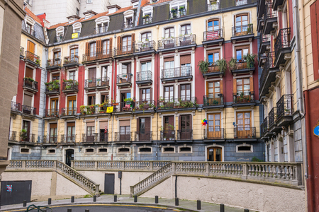 Apartment in the old part of Bilbao the Casco Viejo in October 06, 2016. The colorful house is located in a very narrow, working class neighborhood