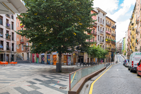 The San Frantzisko district of Bilbao, a poor, multi cultural and exciting part of the city. Public square at the Zaharra street with shops and pubs