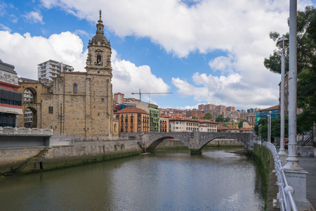The church of San Anton at the Nervion river in Bilbao. The church, built in 1510, is a Catholic temple located in the old town. It is build in Gothic style with baroque elements