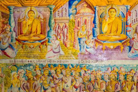 More than 200 years old murals inside the temple of the Buddhist monastery named Sunandarama Maha Vihara in the village Ambalangoda