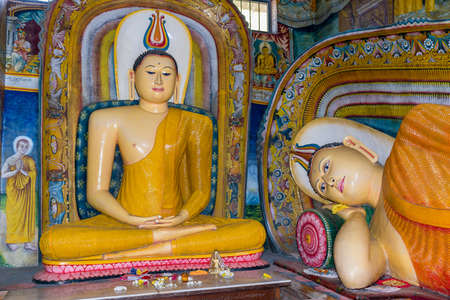 More than 200 years old murals and sculptures inside the temple of the Buddhist monastery named Sunandarama Maha Vihara in the village Ambalangoda Editorial