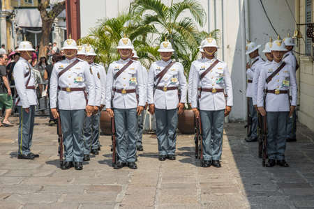 Change of the guard of the First Infantry Regiment of the Royal Guard in the Grand Palace. It is part of the Royal Thai Armed Forces