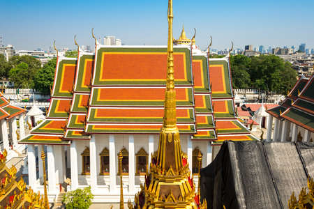 The holiest building, the Ubosot, the ordination hall in the Buddhist temple Wat Ratchanatdaram. It is meaning Temple of the Royal Niece, and is located in the central district of Bangkok