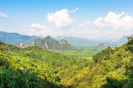 Scenic landscape in the south of Thailand. View towards the national park Khao Sok
