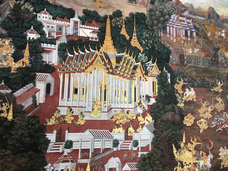 Murals, paintings, tales and history from Buddha, Bangkok, kings and Buddhism in the Wat Phra Kaeo, commonly known in English as the Temple of the Emerald Buddha