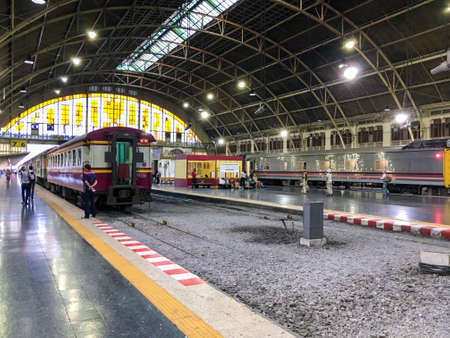 Bangkok railway station Hua Lamphong. The station is officially referred to by the State Railway of Thailand as Sathani Rotfai Krung Thep