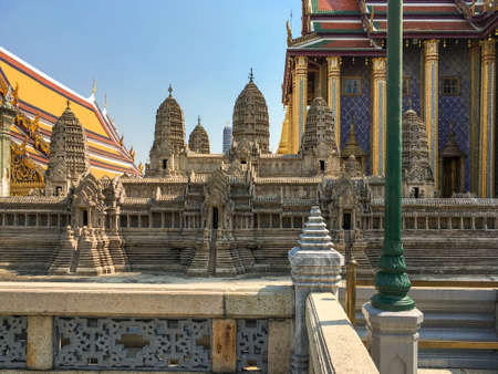 A scale model of the temple complex of Angkor Wat in the Wat Phra Kaew, commonly known in English as the Temple of the Emerald Buddha in Bangkok Thailand Standard-Bild