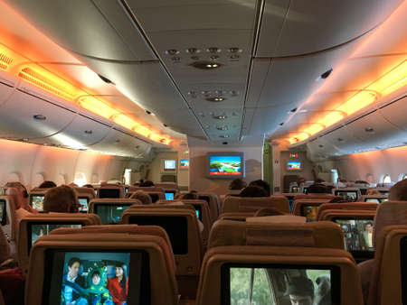 Passengers in the cabin of an Airbus 380 Aircraft shortly before starting Editorial