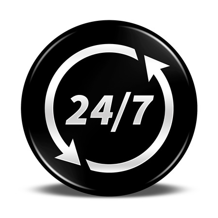 black button: 247 service button isolated