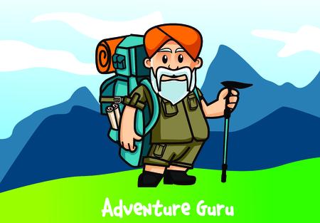 travel Guru Adventure Character Illustration