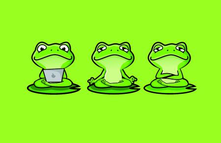 Cute Zen Frog Character Mascot Foto de archivo - 119196529
