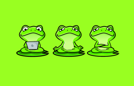 Cute Zen Frog Character Mascot