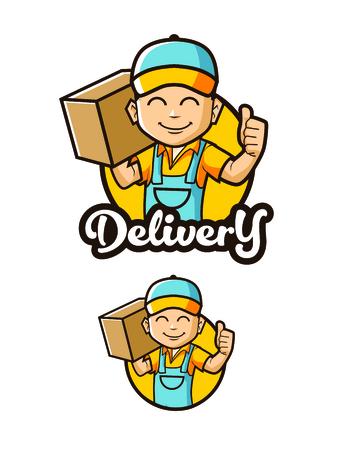 concepto de logotipo de personaje de hombre de entrega