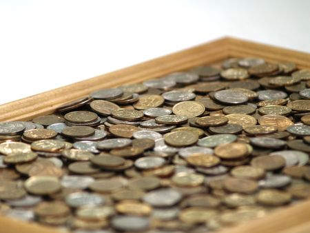 one us dollar coin: Large quantity of copper coins. It is a lot of money.