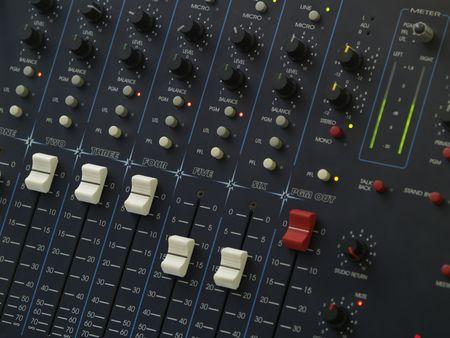 Radiostation professional mixing console. Programm PGM fader full. photo