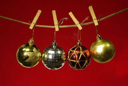 christmas ball on clothespins photo