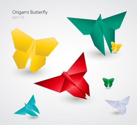 focus on shadow: Origami Butterflies Illustration