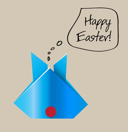 Easter Origami Bunny Card Vector