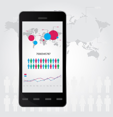 Mobile infographic. Set of graphs and chats. illustration Illustration