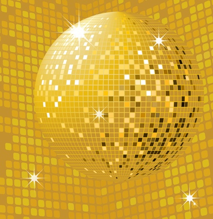 Shiny gold disco ball Vector