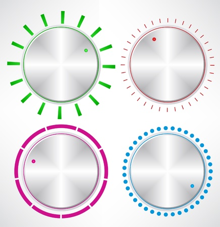 Set of Metallic Knob, vector  Set of Control volume knob  Illustration
