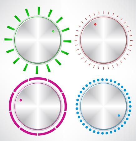 controls: Set of Metallic Knob, vector  Set of Control volume knob  Illustration