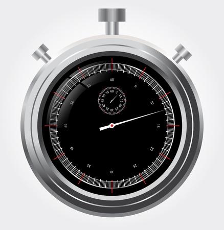 Vector stopwatch in high detail  Retro mechanic chromed Illustration