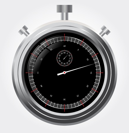 Vector stopwatch in high detail  Retro mechanic chromed Illustration