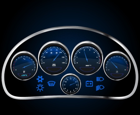 realistic car dashboard Stock Vector - 12995394